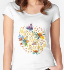 Read More Books - Floral Gold - Black Women's Fitted Scoop T-Shirt