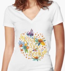 Read More Books - Floral Gold - Black Women's Fitted V-Neck T-Shirt