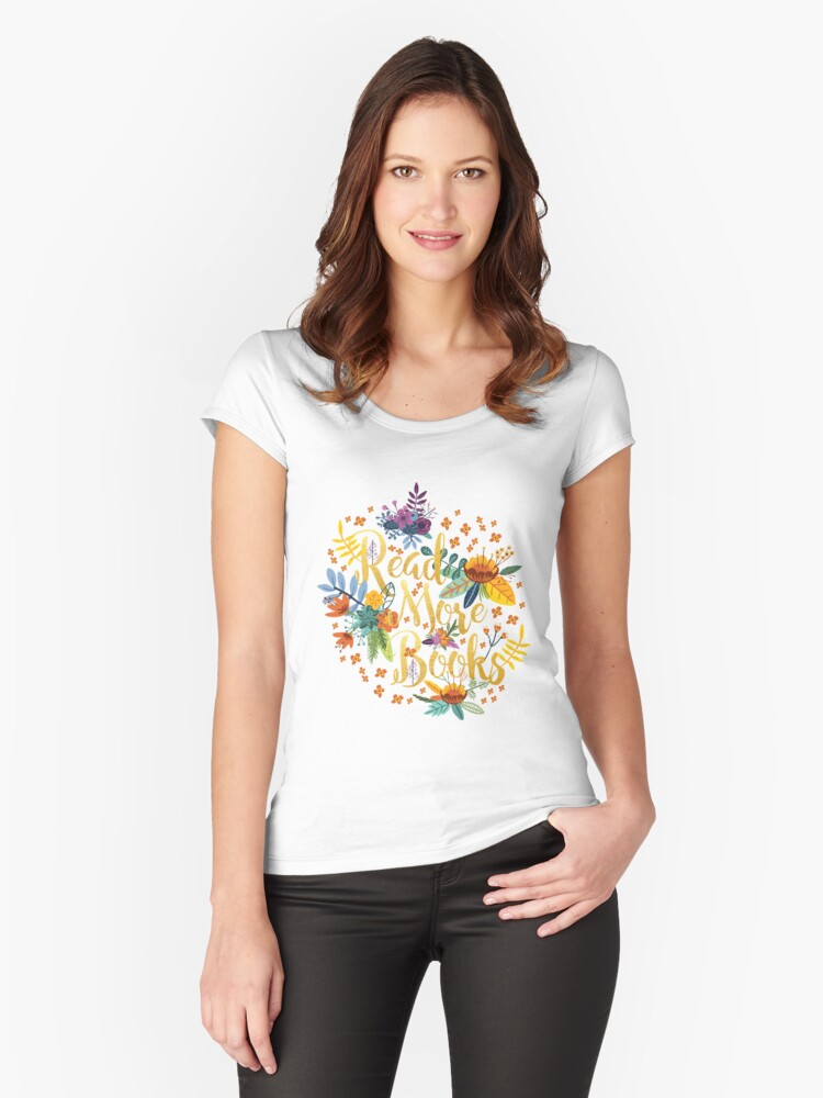 Read More Books - Floral Gold - Black Women's Fitted Scoop T-Shirt Front