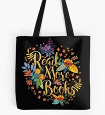 Lesen Sie mehr Bücher - Floral Gold - Schwarz Tote Bag