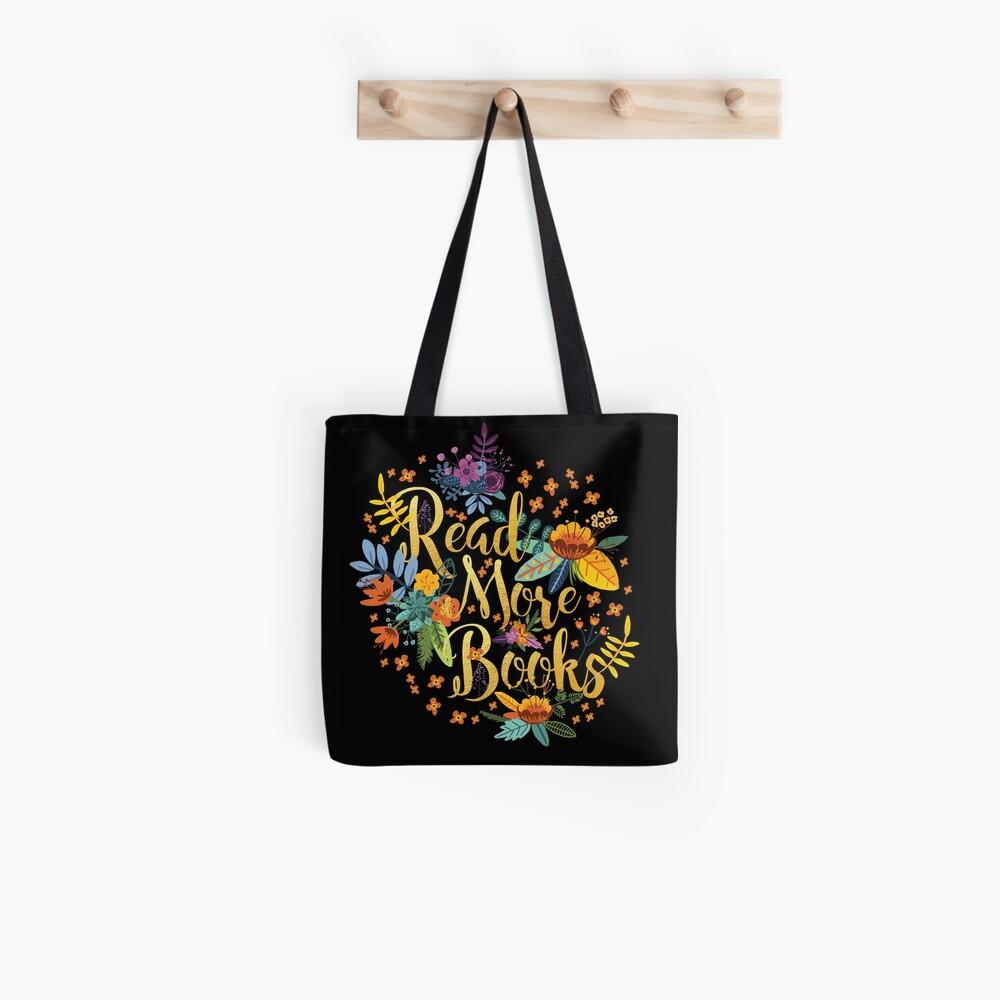 Read More Books - Floral Gold - Black Tote Bag
