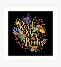 Read More Books - Floral Gold - Black Art Print