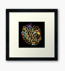 Read More Books - Floral Gold - Black Framed Print