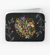 Read More Books - Floral Gold - Black Laptop Sleeve