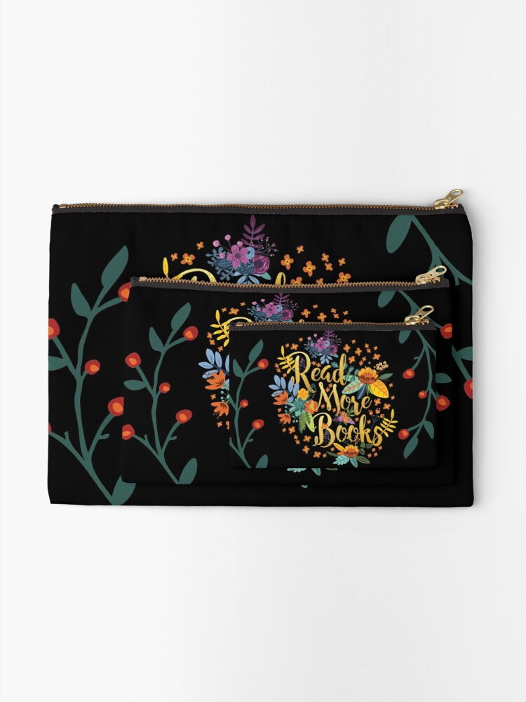 Alternate view of Read More Books - Floral Gold - Black Zipper Pouch
