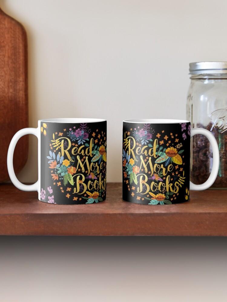 Mug ''Read More Livres - Floral Gold - Black': autre vue