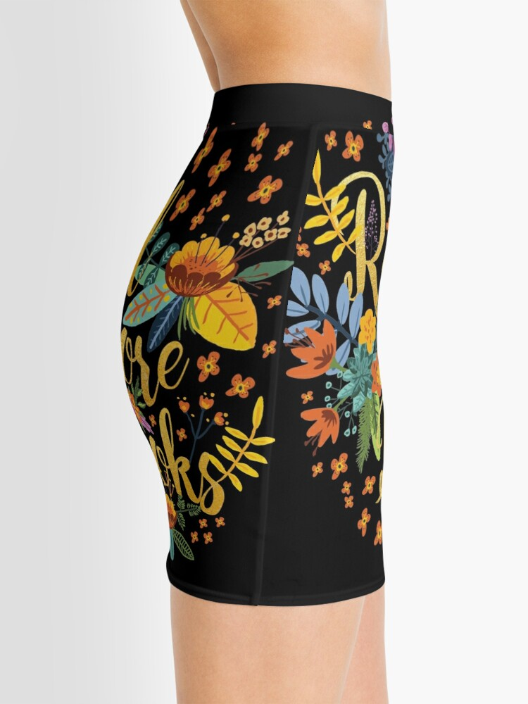 Alternate view of Read More Books - Floral Gold - Black Mini Skirt