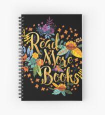 Read More Books - Floral Gold - Black Spiral Notebook