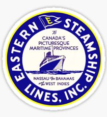 Eastern Steamship Lines Vintage Travel Luggage Label Decal Canada Nassau Bahamas West Indies Sticker