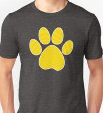 Dog Paw Print, Yellow Spiral Unisex T-Shirt