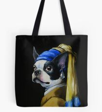 With a Pearl Earring Tote Bag
