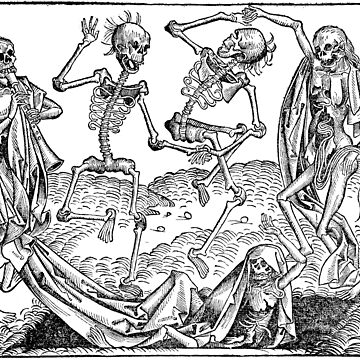 Dance of Death / Dance of macabre - black print by Bela-Manson