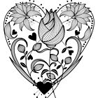 Inked Floral Heart by Lesley Smitheringale