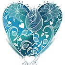 White Inked Floral Blue Heart by Lesley Smitheringale