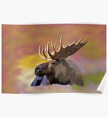 Autumn Bull Moose Art Print Poster