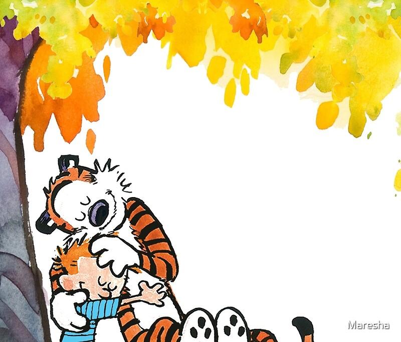 Tazas de viaje «Calvin y Hobbes bajo el árbol» de Maresha | Redbubble