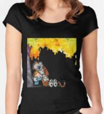 Calvin and Hobbes Under Tree Women's Fitted Scoop T-Shirt