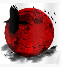 Moon - Red Moon and Birds Poster