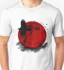 Moon - Red Moon and Birds T-Shirt