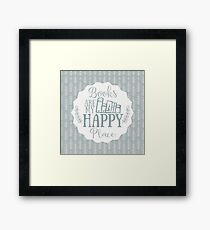 Books Are My Happy Place - Blue Framed Print