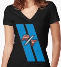 R/T Blue Women's Fitted V-Neck T-Shirt