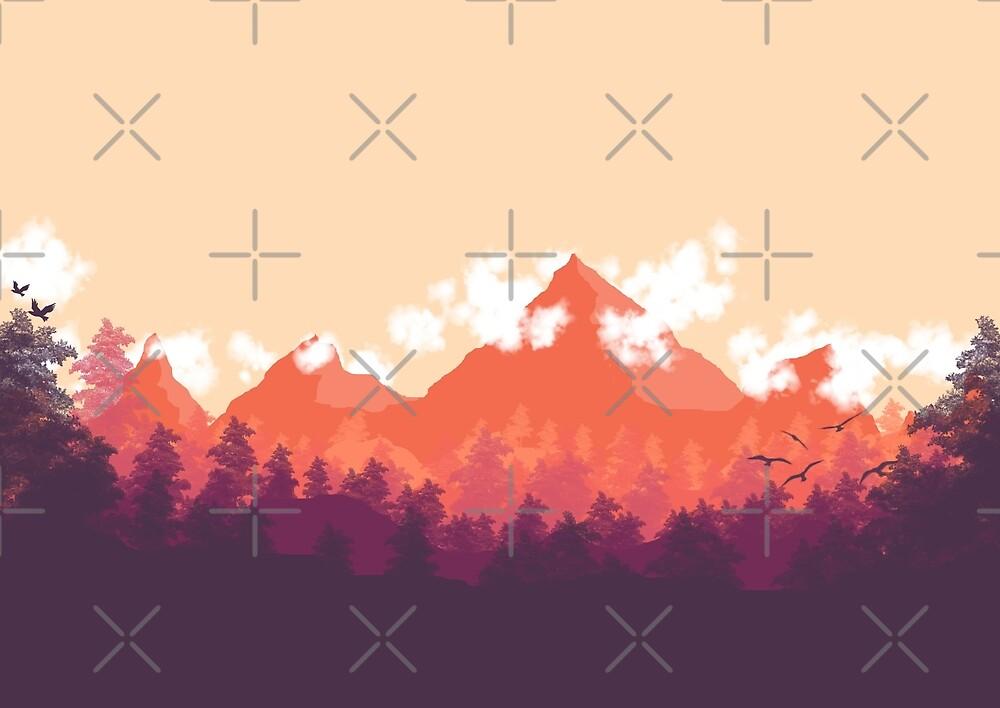 Orange 2d minimalist landscape poster by dylanjaimz for Minimal art landscape