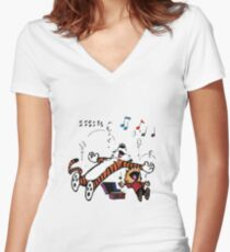 Calvin and Hobbes Sleep Women's Fitted V-Neck T-Shirt
