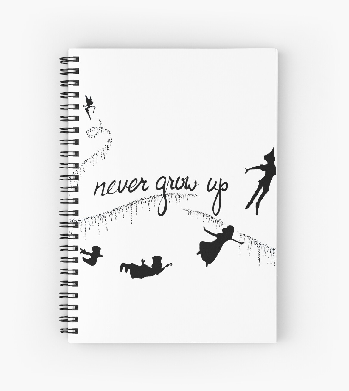 Never Grow Up Peter Pan Spiral Notebooks By Tarpansungkono Redbubble