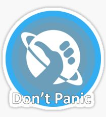 Don't Panic! Hitchhikers guide to the galaxy themed dont panic, thumbs up symbol, blue, minimal Sticker