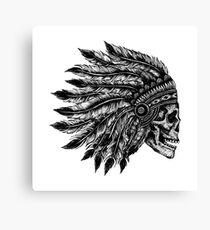 Native Headdress Skull Canvas Print