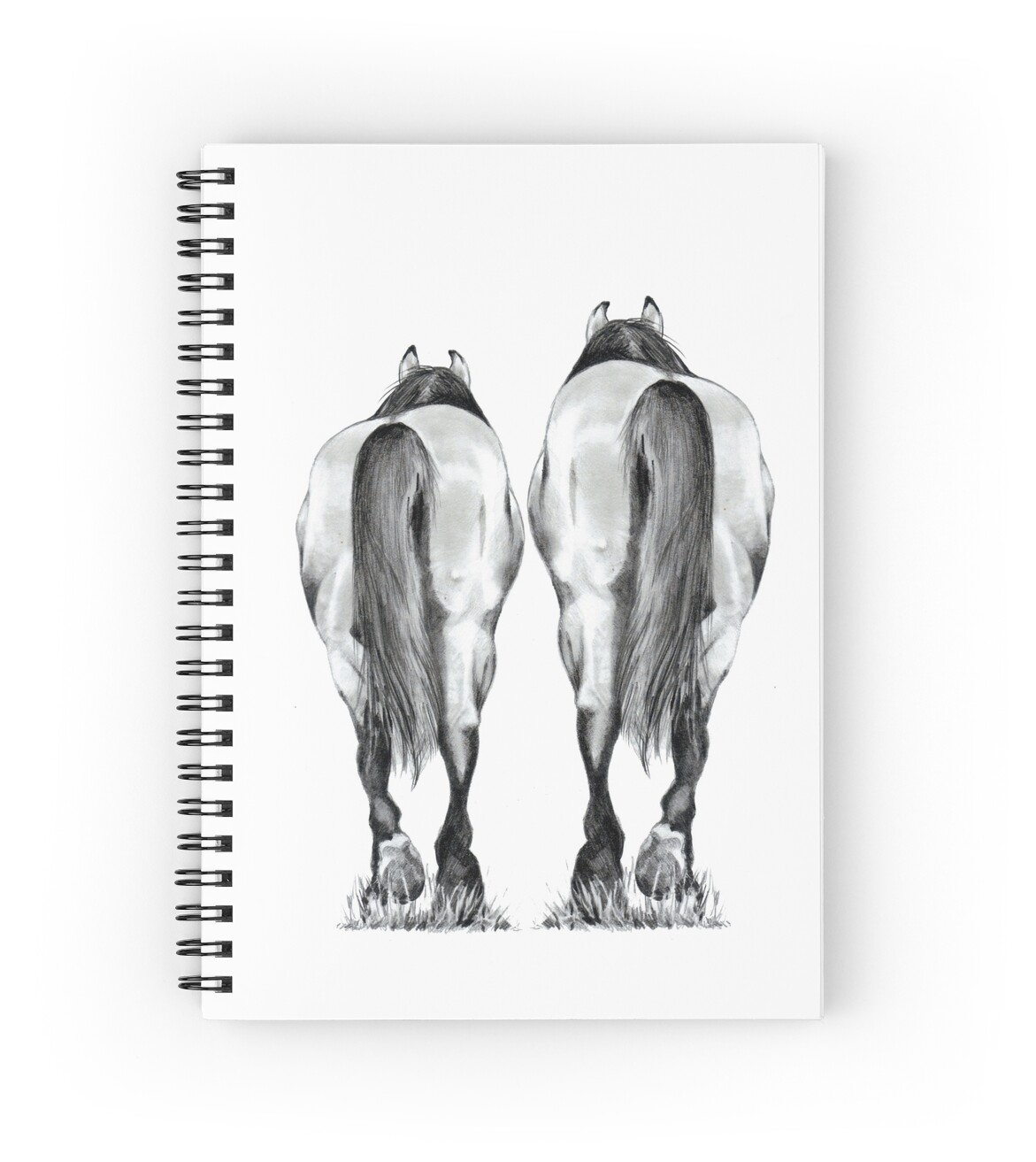 """Horse Couple Walking Away, Pencil Drawing, Leaving ..."