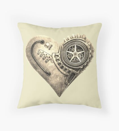Steampunk Vintage Clockwork Heart Steampunk T-Shirts Throw Pillow