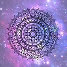 Hand Drawn Mandala On Pretty Purple Galaxy Star Background by Zedart