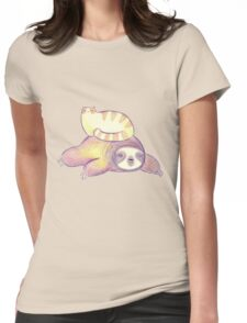 Sloth and Tabby Cat Womens Fitted T-Shirt