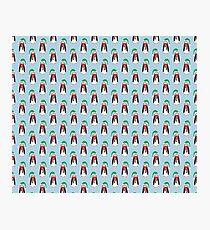 Light Blue Christmas Penguin Pattern Photographic Print