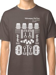 VW Air Cooled Flat Four Engine Parts - White Print Classic T-Shirt