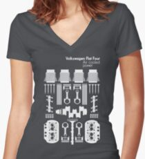 VW Air Cooled Flat Four Engine Parts - White Print Women's Fitted V-Neck T-Shirt