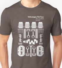 VW Air Cooled Flat Four Engine Parts - White Print T-Shirt