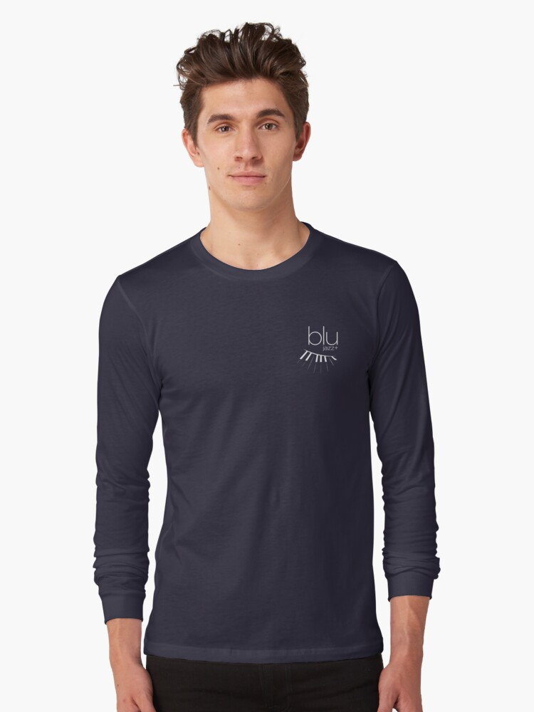 BLU Logo (white, 1-color) Long Sleeve T-Shirt Front