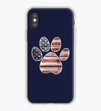 Dog Paw Print, American Flag iPhone Case