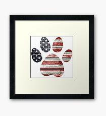 Dog Paw Print, American Flag Framed Print