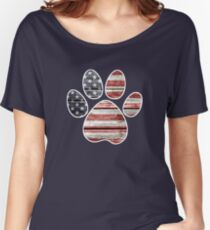 Dog Paw Print, American Flag Women's Relaxed Fit T-Shirt
