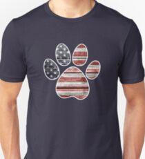 Dog Paw Print, American Flag Slim Fit T-Shirt