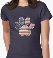 Dog Paw Print, American Flag Womens Fitted T-Shirt
