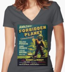 Vintage Sci-fi Movie Forbidden Planet, Robot Fitted V-Neck T-Shirt