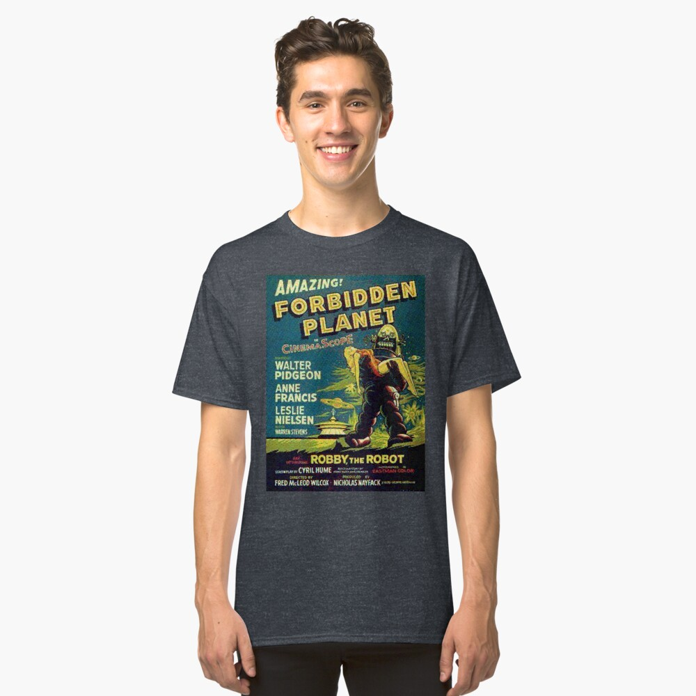 Película de ciencia ficción de la vendimia planeta prohibido, robot Camiseta clásica