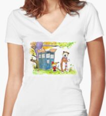 Adventure in Time & Space! Women's Fitted V-Neck T-Shirt
