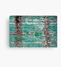 Green brick wall painted in the past Canvas Print
