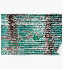 Green brick wall painted in the past Poster