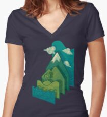 How to Build a Landscape Women's Fitted V-Neck T-Shirt
